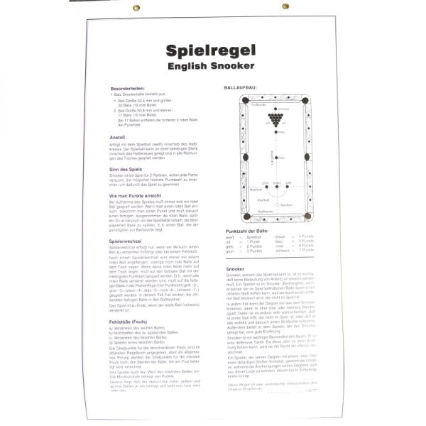 Spielregel Poster Snooker