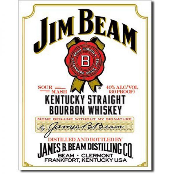 Blechschild Jim Beam White Lable