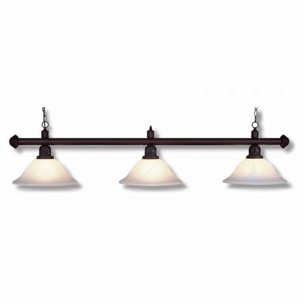 Billardlampe antik-braun-Glasschirme Rauch