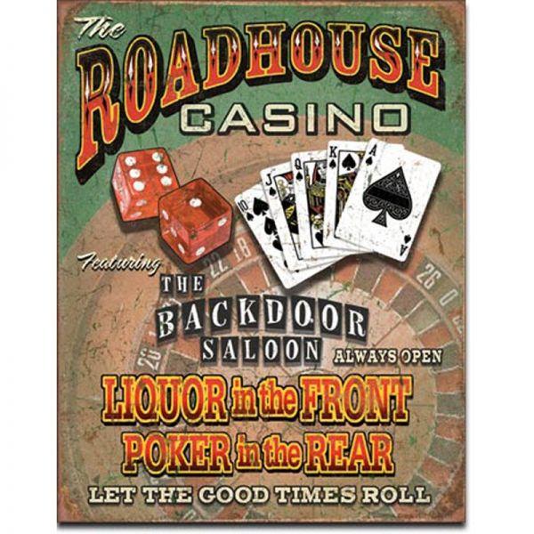 Blechschild Roadhouse Casino