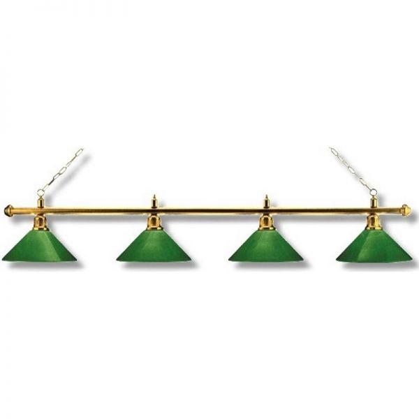 Billardlampe Messing-Grün 4 Schirm