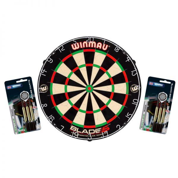 Dartboard Winmau Set Blade 5 + 2 Steeldart Sets Broadside