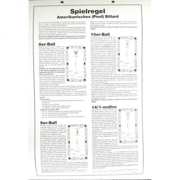Spielregel Poster Pool